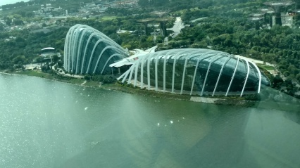 View from Singapore Flyer: Flower Dome & Cloud Forest Dome