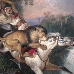 Arab Horseman Attacked by a Lion by Raden Saleh