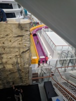 Rock wall and water slides onboard