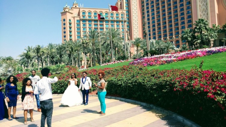 Photo shoot in progress in front of the grand hotel Atlantis The Palm