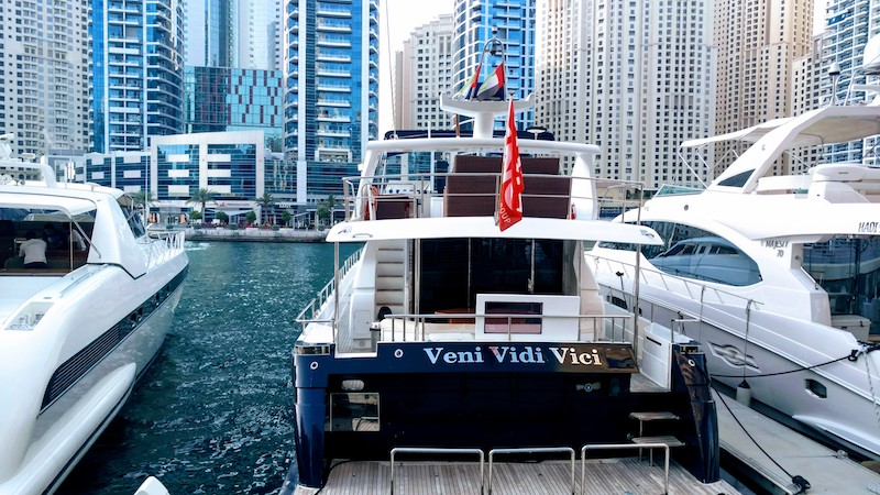 Yachts mooring at The Dubai Marina