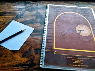 Menu and the note to write the order