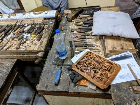 Inside the Wood carving section
