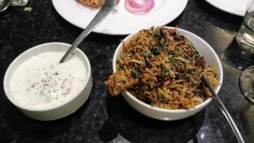 Chicken biryani and raita