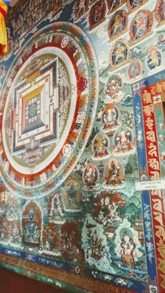 Mandala painted on the wall of the temple