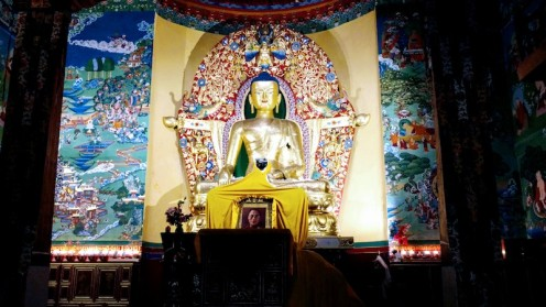 Inside the temple in the Norbulingka Institute