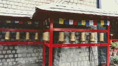 Mani Prayer wheels outside the temple