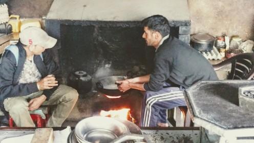 Milk boiling away, to make Khoa