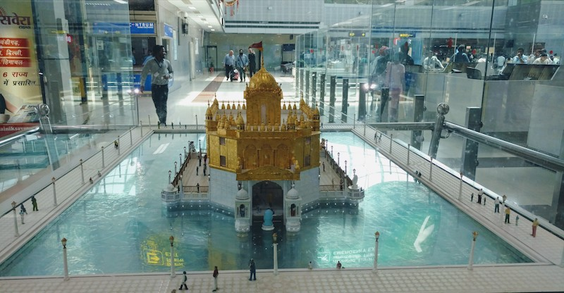 A model of the Golden Temple at the Amritsar airport