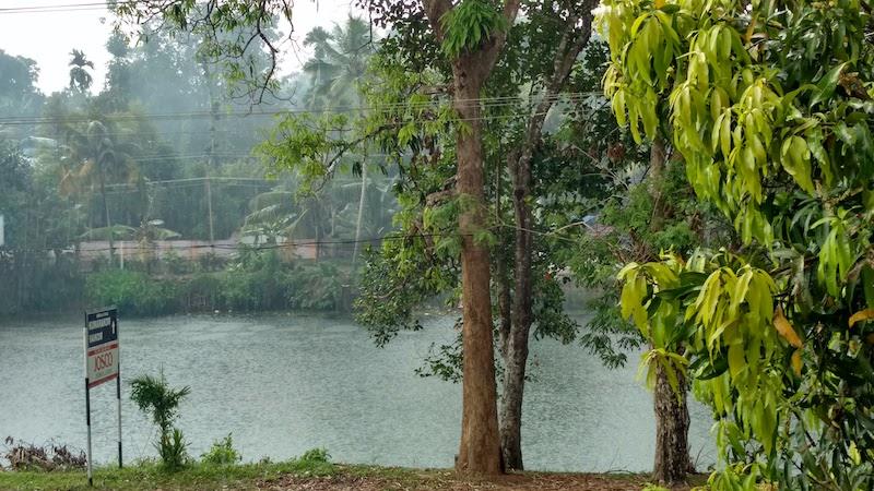 Rain on the Meenachil river along the Kottayam-Kumarakom route