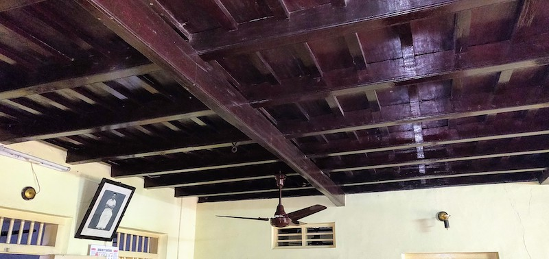 The wooden roof inside the house