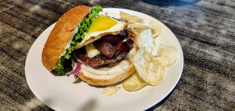 Meaty Chicken Cheese Burger (Bacon+ Fried Egg)