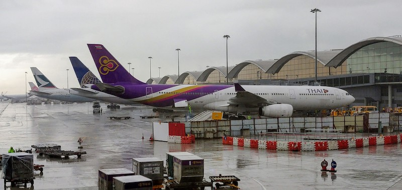Colourful tails against the grey sky: Inside the Hong Kong Intl airport