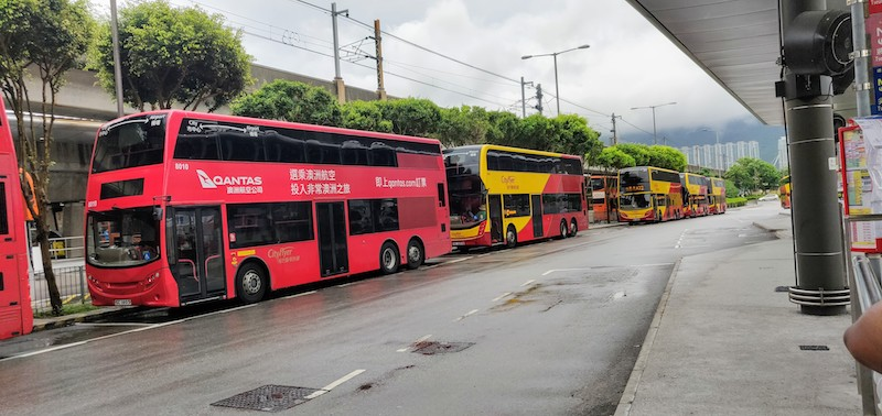 Waiting for the City Flyer - double decker buses, outside the Hong Kong airport