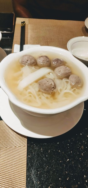 Rice Noodles with Beef Balls in Soup