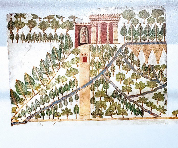 A painted picture of the upper half of the wall relief showing the Gardens at Nineveh