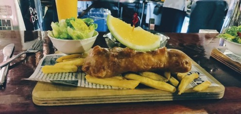 Battered local Reef fish and Chips