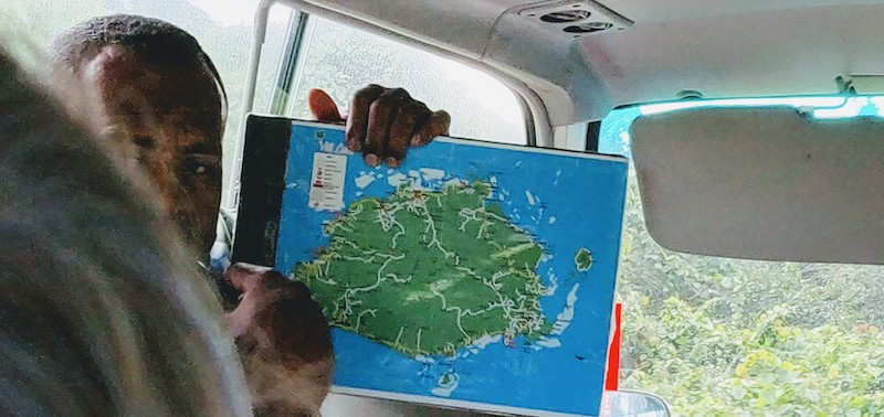 Viti Levu island map and our road to Suva