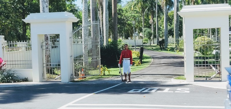 The guard in front of the Government House