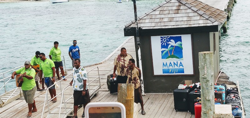 The band at the Mana Island Resort
