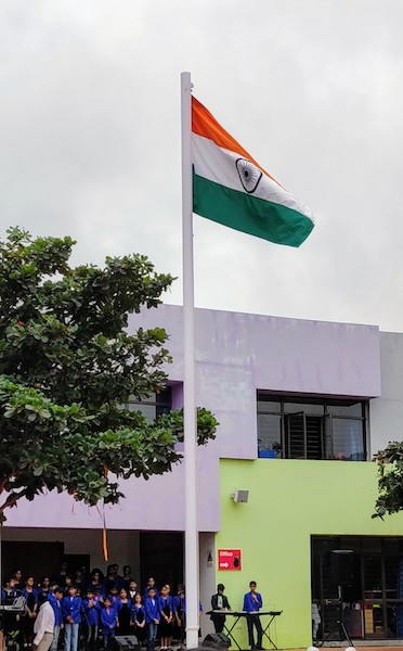 The Indian flag hoisted at the school