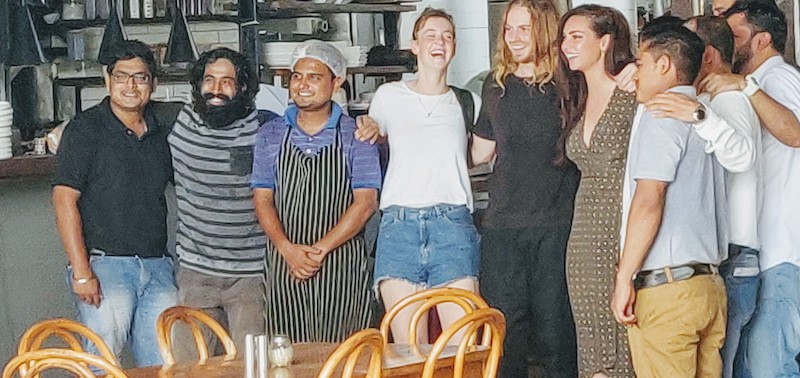 Sarah Todd with the staff at Antares at Vagator, Goa