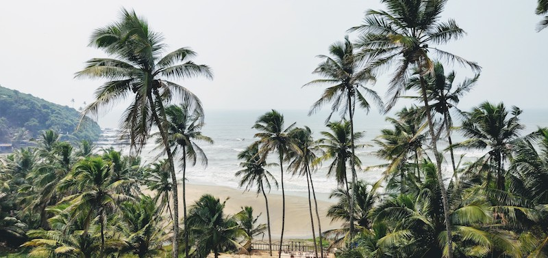 The view of the beach from the restaurant Antares at Vagator, Goa