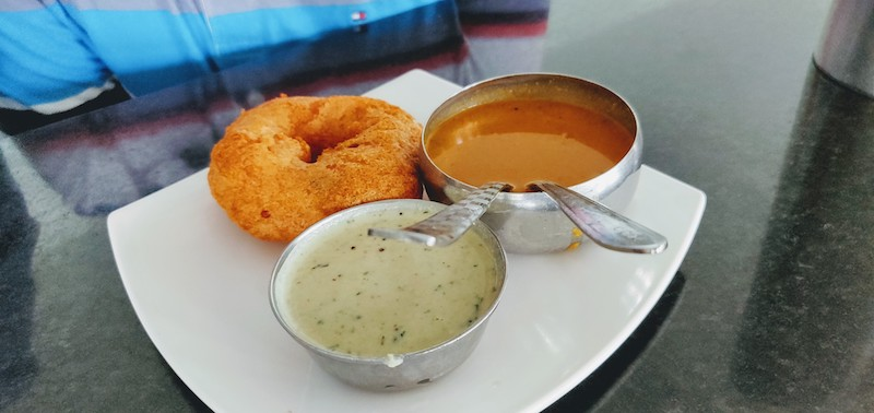 Vada with coconut chutney and sambar