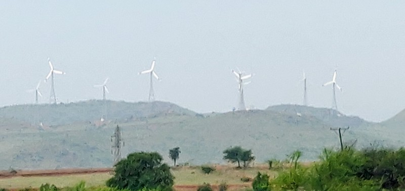 Windmills along the distant hills