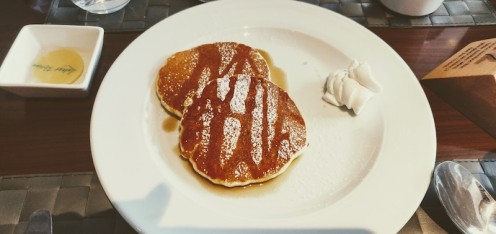 Pancakes with Maple syrup and whipped cream