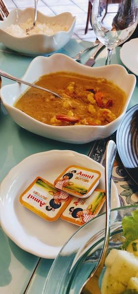 """""""Philomenache"""" Caldeen and rice at Mum's kitchen, Panjim"""