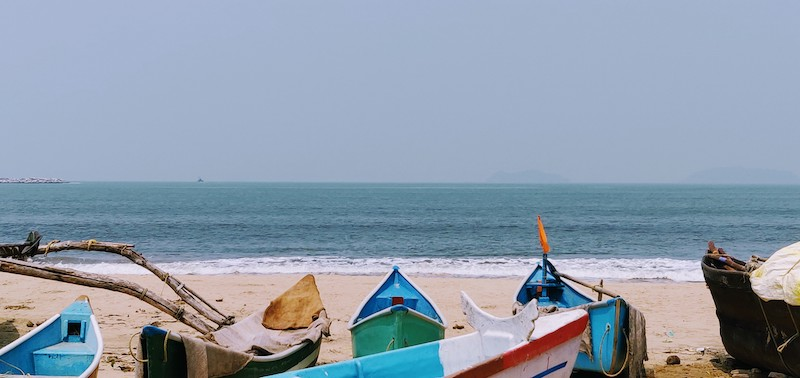 The colourful fishing boats at the Karwar beach