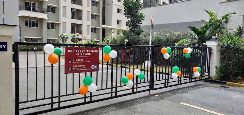 Decor on the occasion of the Republic day, tri-colour on our flag - saffron, white and green