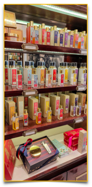 Beauty in a bottle - the display at Forest Essentials