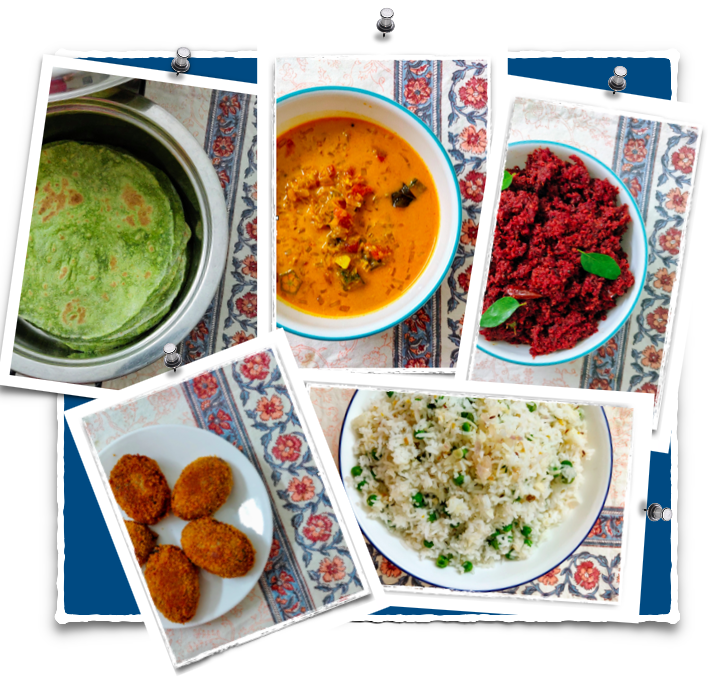 Easy Indian Meal Set #1 - Palak (Spinach) Chapati, Lady's Finger Curry, Carrot and beetroot thoran (with grated coconut), Mutton cutlets and Peas Pulao.