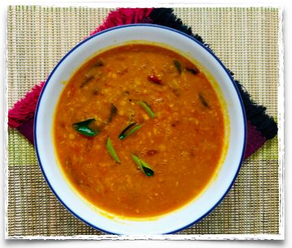 Pumpkin and shallots sambar