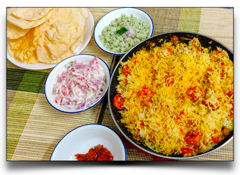 Easy Indian Meal Set #3 - Prawns pulao, Curd salad, Coconut chutney, Pickle and Pappadam