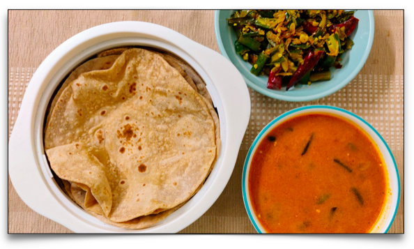 Easy Indian Meal Set (#5) - Chapati, Easy Chicken Roast, Lady's finger stir fry and mushroom curry