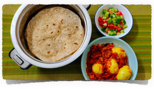 Easy Indian Meal Set (#4) - Chapati, egg roast and cucumber salad