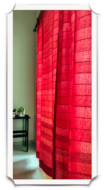 Orange for curtains is a bold colour