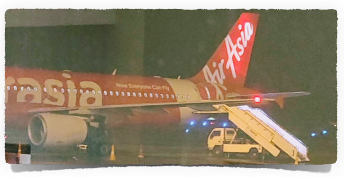 A hazy photo of our Air Asia Airbus 320 200