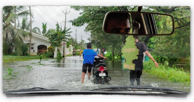 Through the flooded roads in first gear