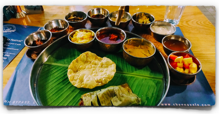 A Full Fish Thali at Cheenavala Restaurant at Kochi