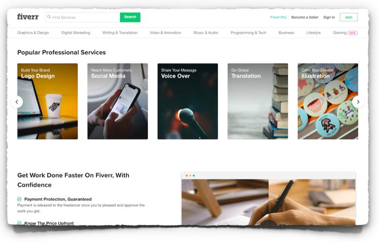 Fiverr website, https://www.fiverr.com