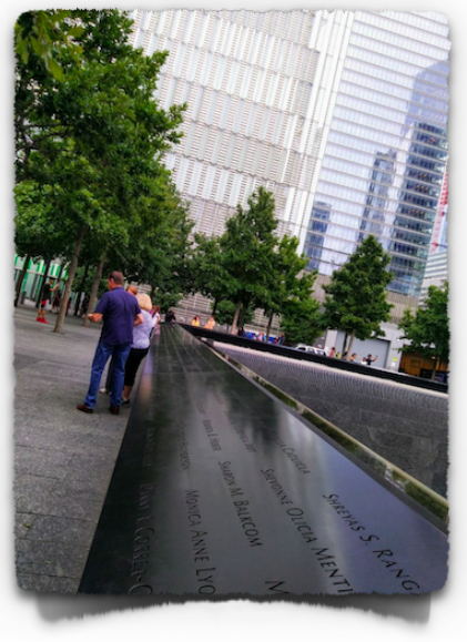 9/11 Memorial Pools – North and South Pools depict the two towers that stood here in 2001. Names of those who perished are engraved on the side walls