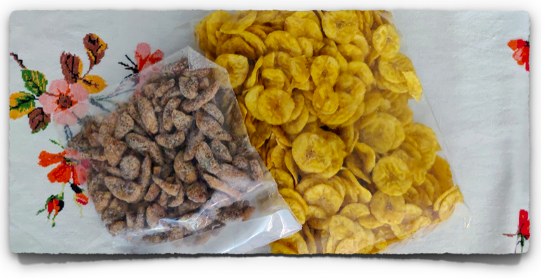 Onam delights from Kerala - banana chips and sharkara varatti (banana chips coated with jaggery)