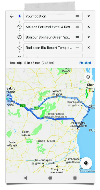 The first cut for the Bangalore - Pondicherry - Mahabalipuram - Bangalore road trip