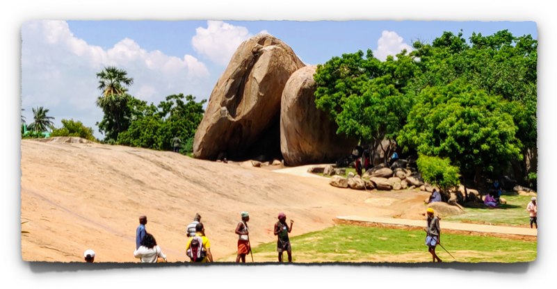 Landscape work in progress at the archaeological sites in Mahabalipuram