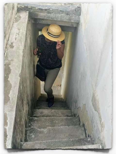 The narrow staircase leading to the top of the tower at Kalyana Mahal