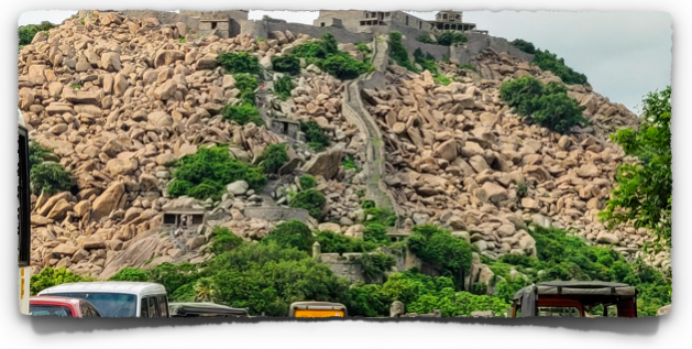 The Krishnagiri fort atop another hillock on the opposite side of the road